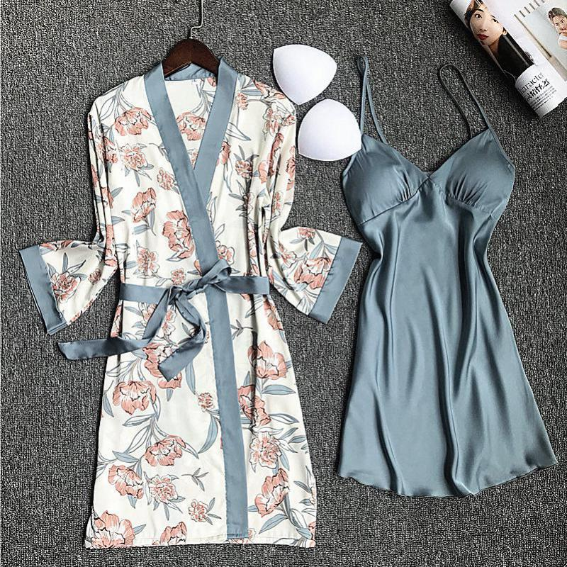 New Hot Sale Sexy Print Silky Wedding Mini Bride Bridesmaid Robe Women 2pcs Sleepwear Satin Nightgown Home Dressing