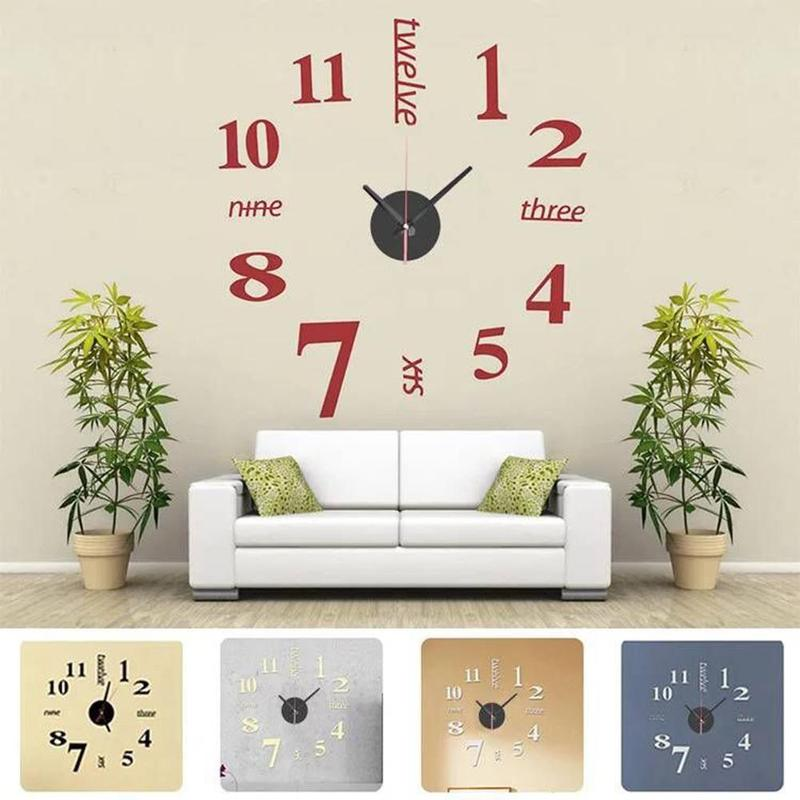 1pcs Quartz Clocks Wall Stickers Watches 3d Real Big Wall Clock Rushed Mirror Sticker Diy Living Room Decor Free Shipping
