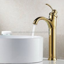 цена на Polished Golden Bathroom Faucet Deck Mounted Basin Mixer Faucet Chrome Sink Tap Vanity Hot Cold Water Faucet Kgf059