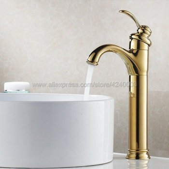 Polished Golden Bathroom Faucet Deck Mounted Basin Mixer Faucet Chrome Sink Tap Vanity Hot Cold Water Faucet Kgf059