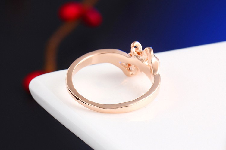 17KM Romantic Gift Retro Love Heart Bow Rings Rose Gold Color wedding Austrian Crystal Element Rings Word Ring For Women 5