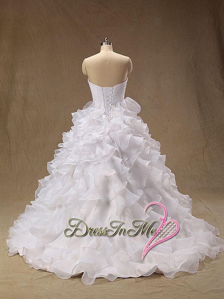 Aliexpress Buy Ruffled Organza Full A Line Wedding Dress 8862 Sweetheart Neckline Layered Skirt Dresses Vestidos De Noiva Real Photos From