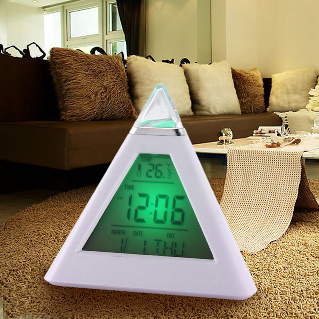 New 7 LED Color Changing Pyramid Digital LCD Alarm Clock Thermometer Temperature Date Display Electronic Table Desktop Clocks