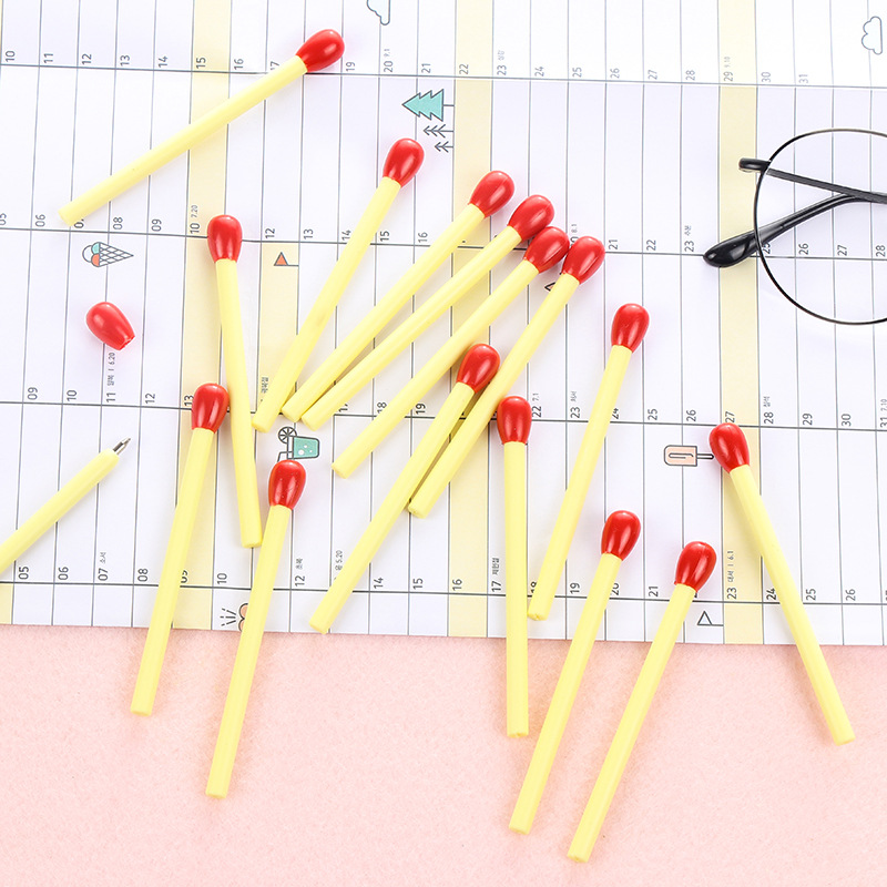 5 Pcs/lot 0.7mm Creative Cute Matches Blue Ink Ballpoint Pen Office School Supplies Stationery