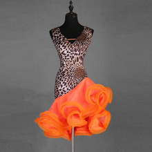 Léopard Latin danse robe femmes/filles à vendre cha Cha/Rumba/Samba/salle de danse danse Dancewear Fitness vêtements dame danse Costume