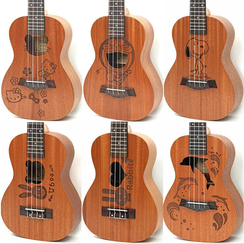 21 pouces 15 frettes Soprano ukulélé Uke 4 cordes Nylon Sapele palissandre guitare motif dauphin universel acoustique Instrumen UK-CSKT