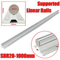 SBR20 1000mm 20mm Fully Supported Linear Rails Silver Shaft Steel Rod Slide Rods Linear Guide Rail Freeshipping