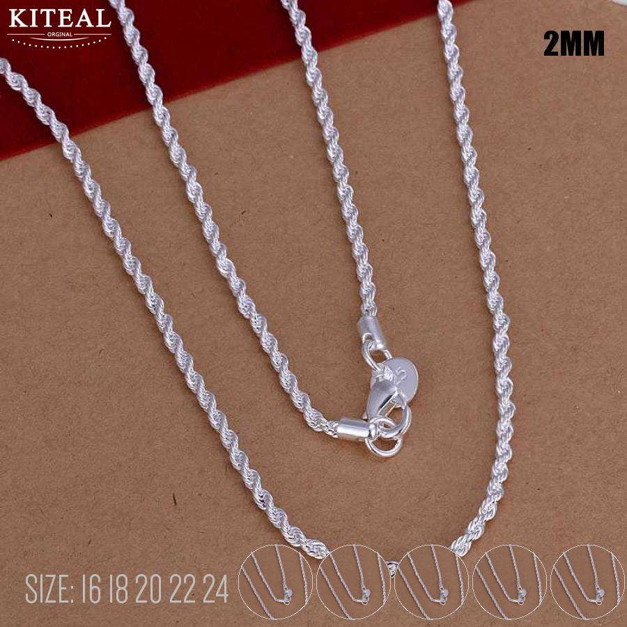 Chain Jewelry Accesory Silver Necklace Twist-Rope Women 16-18-20-22 925 2mm Hot-Sale