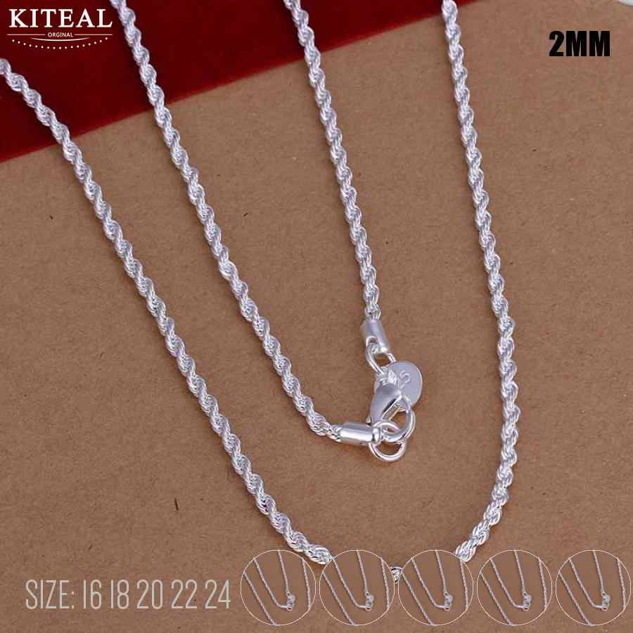 Hot sale Retail Wholesale silver Necklace Women Man necklace 2mm 16 18 20 22 24 inch Twist Rope Chain jewelry accesory 925