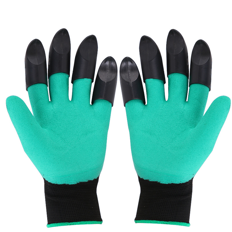 KopiLova 1 Pairs Left And Right Hands Garden Working Gloves With 4 ABS Finger Claws Dig Rake Plant Gloves For Hands Protection