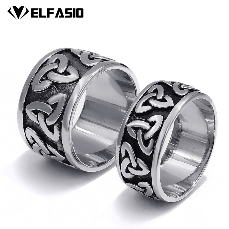 10/14mm Mens Womens Stainless Steel Ring Band Silver Black Celtic Knot Fashion jewelry Size 7-13 gj303 rhinestones 316l stainless steel couple s ring black silver size 9 7 2 pcs