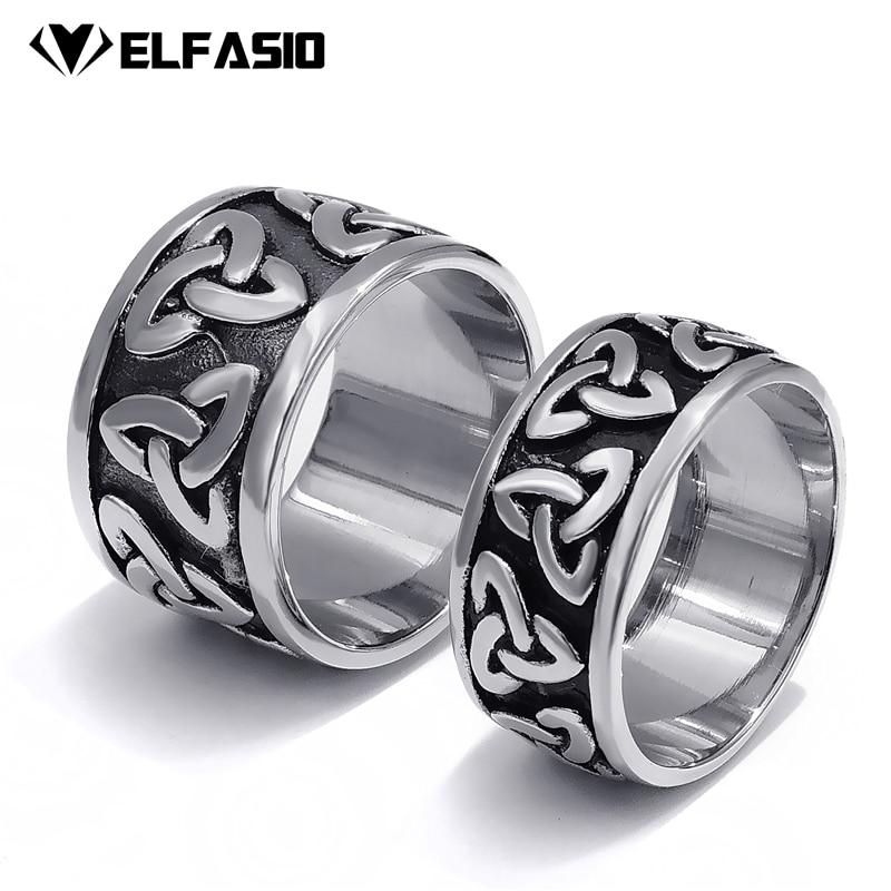 где купить 10/14mm Mens Womens Stainless Steel Ring Band Silver Black Celtic Knot Fashion jewelry Size 7-13 по лучшей цене