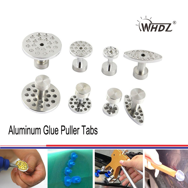 WHDZ PDR Tool Aluminum Glue Puller Tabs Paintless Dent Repair Tools - 4 Size PDR Tabs Tools for Car Body Dent Remover
