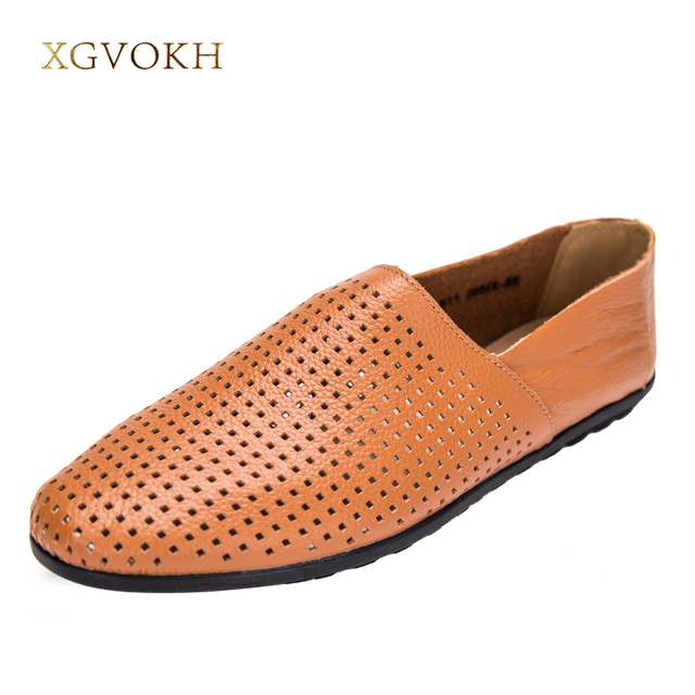 Men Genuine Leather Casual Shoes Moccasins Comfort Man Breathable Loafers Boat Shoes