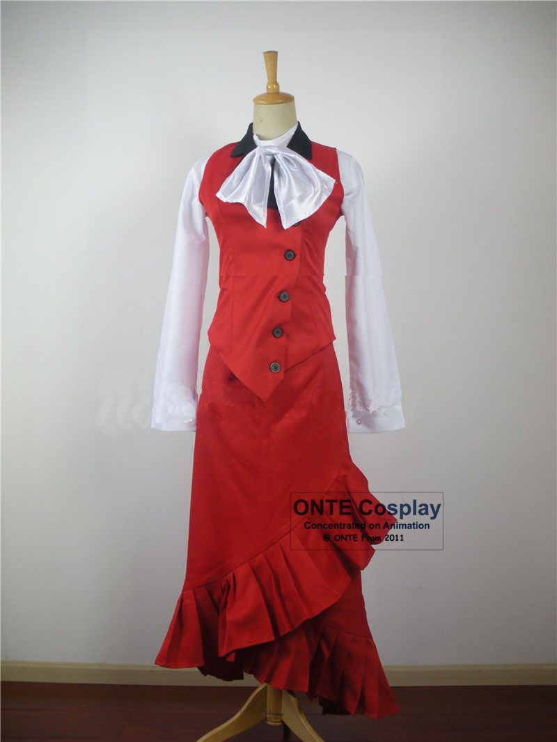 Rajzfilm fekete Butler Cosplay jelmezek Madam piros díszes fél - Jelmezek - Fénykép 3