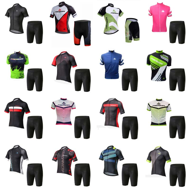 2018 team Merida Cycling Clothing Bike jersey Quick Dry Mens Bicycle clothes short sleeves Cycling Jerseys gel bike shorts H0701