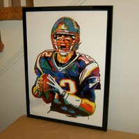 Tom Brady The New England Patriots Quarterback Football 100 Hand Painted Abstract Art TOP OIL Painting
