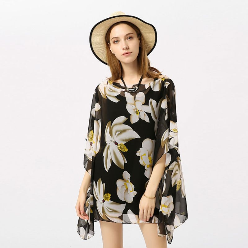 3 Color Summer Pullover Sunproof Swimsuit Cover Up Boho Retro Colored Floral Polka Dot Printed Kimono Tops Oversized Loose Shawl