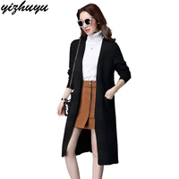 2017 New Fashion Maxi Long Cashmere Sweater Women Cardigan Coat Female Single Breasted Knitted Sweaters V
