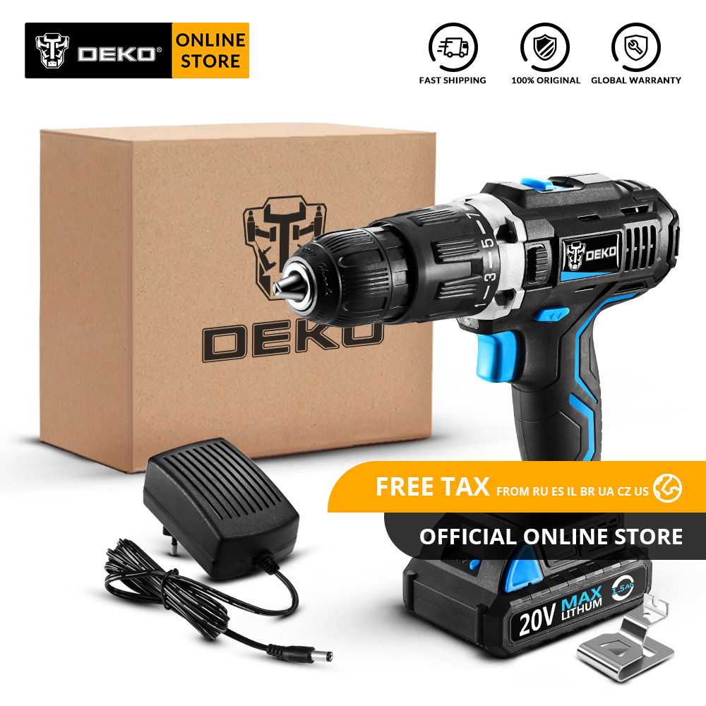 Original DEKO GCD20DU3 20V MAX <font><b>Impact</b></font> <font><b>Cordless</b></font> <font><b>Drill</b></font> <font><b>Electric</b></font> <font><b>Screwdriver</b></font> Lithium-Ion Power Driver Variable Spe LED Standard Set image