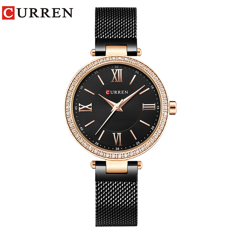 CURREN Watch Women's Casual Fashion Quartz Lady Wrist Watch Crystal Design Ladies Gift Women Simple Watch relogio feminino fashion modern silver crystal flower quartz pocket watch necklace pendant women lady girl birthday gift relogio de bolso antigo