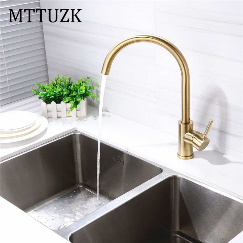 MTTUZK Solid Brass Brushed Gold Kitchen Faucet 360 Rotatable Water Mixer Basin Sink Taps Single Handle Deck Mounted Aerator Tap antique crystal kitchen faucet solid brass brushed basin facuets swivel single handle hole sink mixer water taps deck mounted