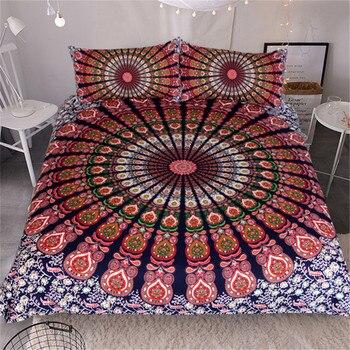 Fanximan Mandala Print Cotton Bedding Set Queen Size King Size Bed Sheet Twill Bohemian 3 PCS Duvet Cover Set with Pillowcase