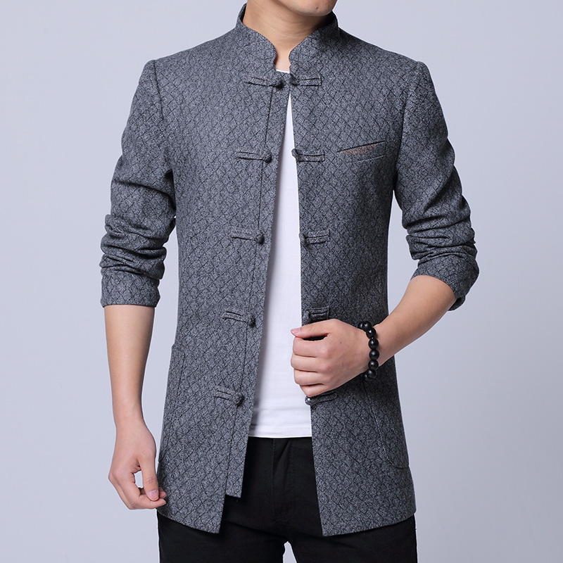 Chinese Style Men Jacket Fashion 2019 Top Quality Slim Fit Mens Casual Jackets Long Sleeve Classic Pan Kou Outwear Coats Men 4XL