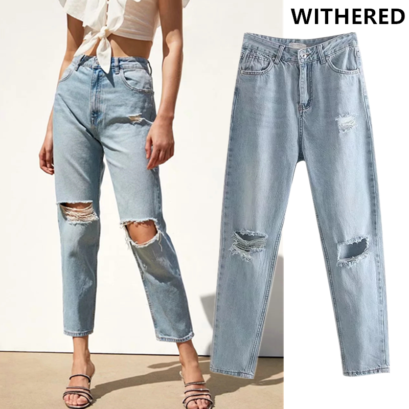 Withered Mom Jeans Women High Street Hole Washed Ripped Jeans For Women Denim Pants Boyfriend Jeans For Women Plus Size