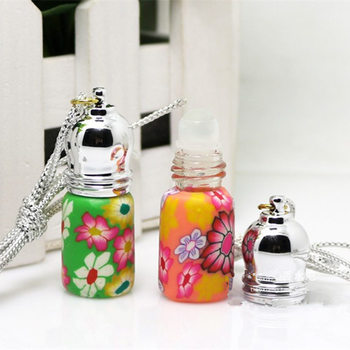 100pcs/lot Free Shipping 3ML Polymer clay perfume bottles Empty Roller ball bottle Car Pendant