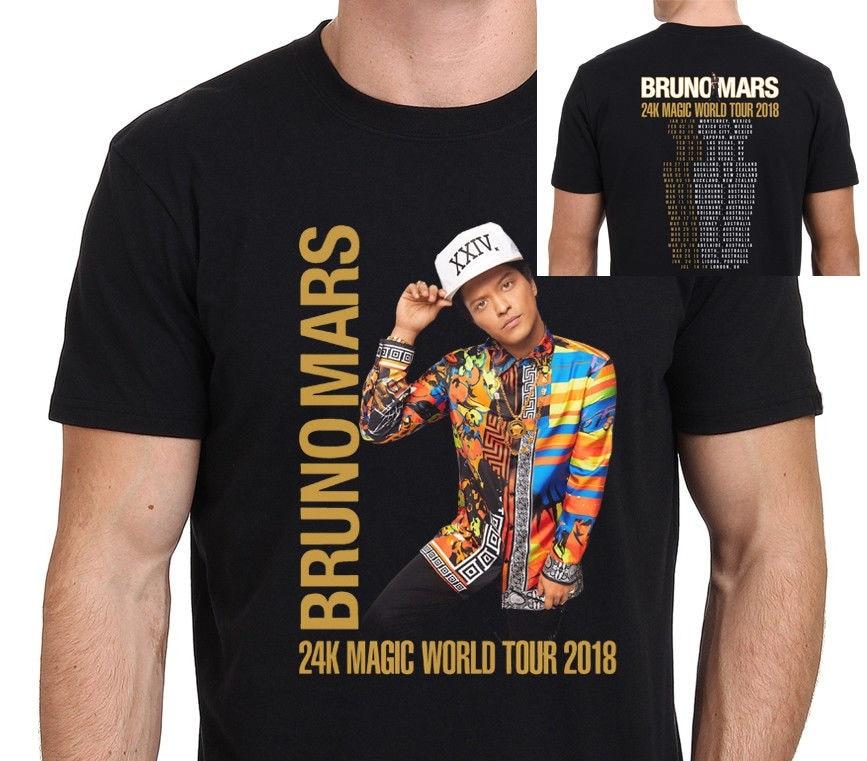 Movie T Shirts Mens New Bruno Mars 24K Magic World Tour 2018 Mens Black T-Shirt Printing O-Neck Short-Sleeve Shirt
