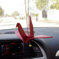 Car pendant creative leather origami cranes 2 colors rearview mirror decorative accessories girl car hanging gift ornaments