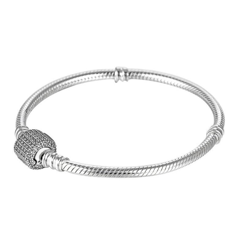 Luxury 925 Sterling Silver Pandora Bracelet Signature Clasp Crystal Snake Chain Bracelet & Bangle Fit Women Bead Charm Jewelry