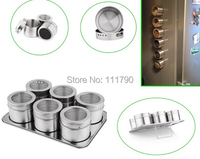 6 Pcs Creative Magnetic Spice Jar Stainless Steel Condiments Pot Household Kitchen Spices Bottle With Cover