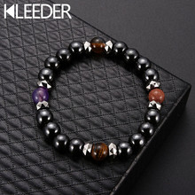 KLEEDER Weight Loss Stone Magnetic Therapy Slimming Bracelets for Women Hematite Stretch Black Beaded Bracelet Fashion Jewelry