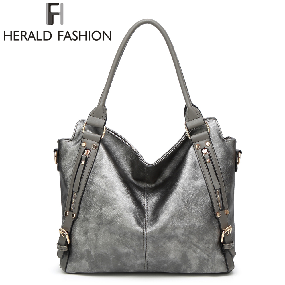 Herald Fashion New Design Women Handbags Large Capacity Bag Luxury Shoulder Bag For Women Ladies PU Leather Bags Female Pouch herald fashion 2017 large capacity women shoulder bag high quality leather handbags for women brand ladies tote bag pu pouch