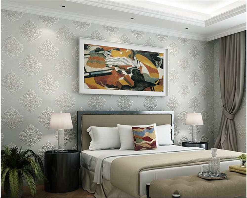 beibehang European luxury 3D Damascus three dimensional relief wallpaper papel de parede wall paper living room wallpaper in Wallpapers from Home Improvement