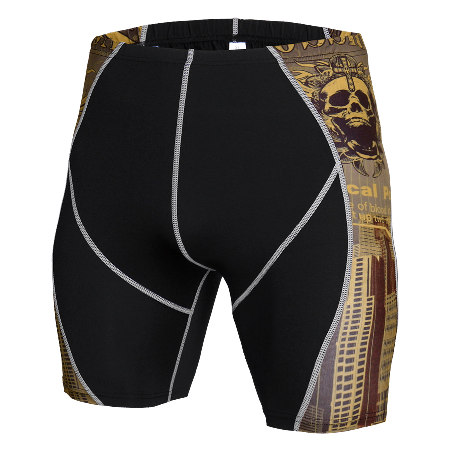 Newest Summer Compression Shorts Fitness Shorts Men MMA Bermuda Skull Thermal Sportswear Shorts Rashguard Bodybuilding Tights