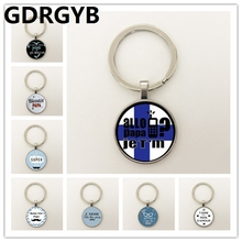 GDRGYB 2019 I Love Daddy So Much Key buckle Handmade Round Glass Cabochon Moustache Pattern Key buckle Men Jewelry so much in love