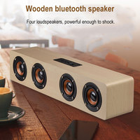Four horn Wooden Bluetooth speaker portable Subwoofer super bass receiver Handsfree call Stereo Wireless speakers for music home