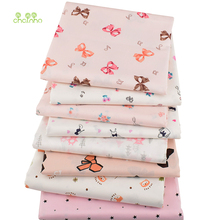 Chainho,8pcs/Lot,Printed Twill Cotton Satin Fabric,Pink Series,Patchwork Cloth,DIY Sewing Quilting Material For Baby&Children