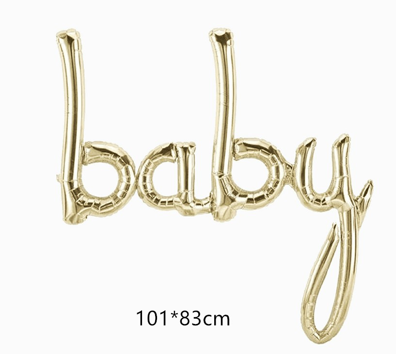 White Gold baby balloons helium mylar balloons baby first birthday party decorations baby shower globos baby letter balloon