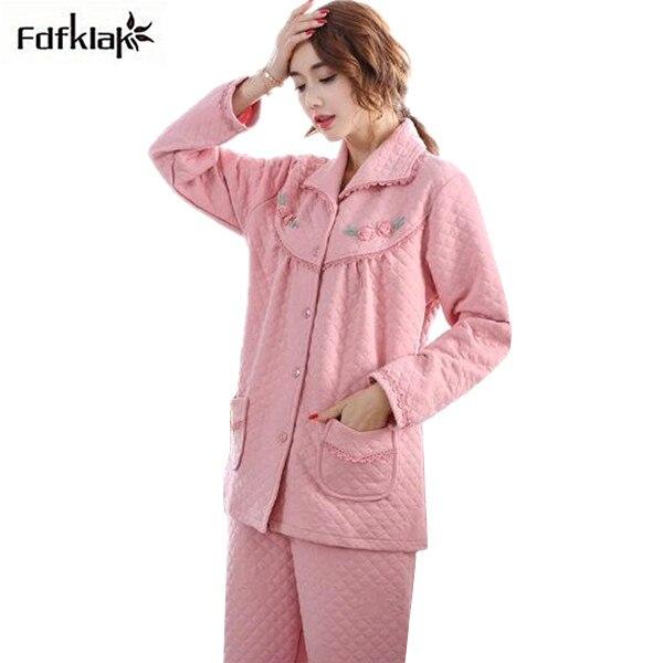 34620a8433 Fdfklak Plus Size Pyjamas Women Thick Warm Winter Pajamas Set Long Sleeve  Cotton Blend Ladies Pijama Sleepwear Pajama S-4XL