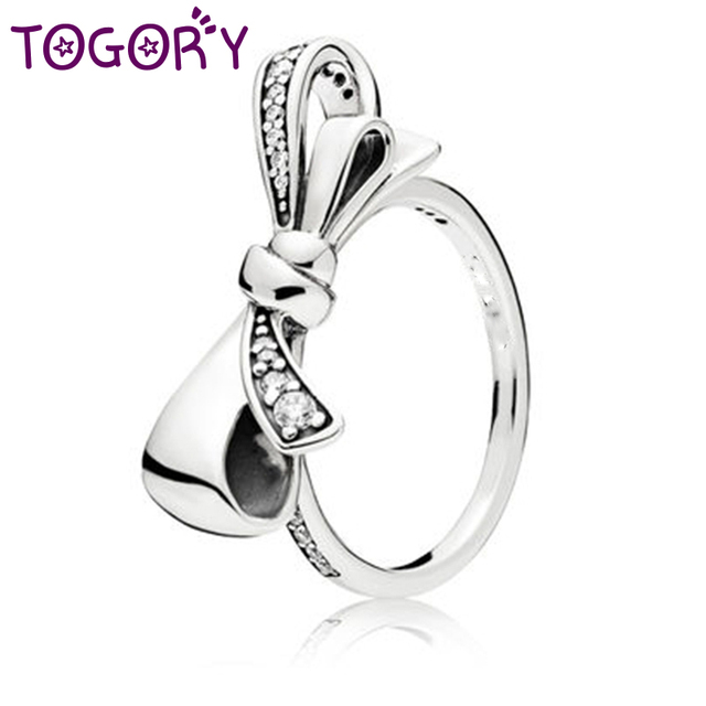TOGORY 2018 Fashion Dropshipping Bow Knot Stackable Fine Ring Micro Pave CZ Fing