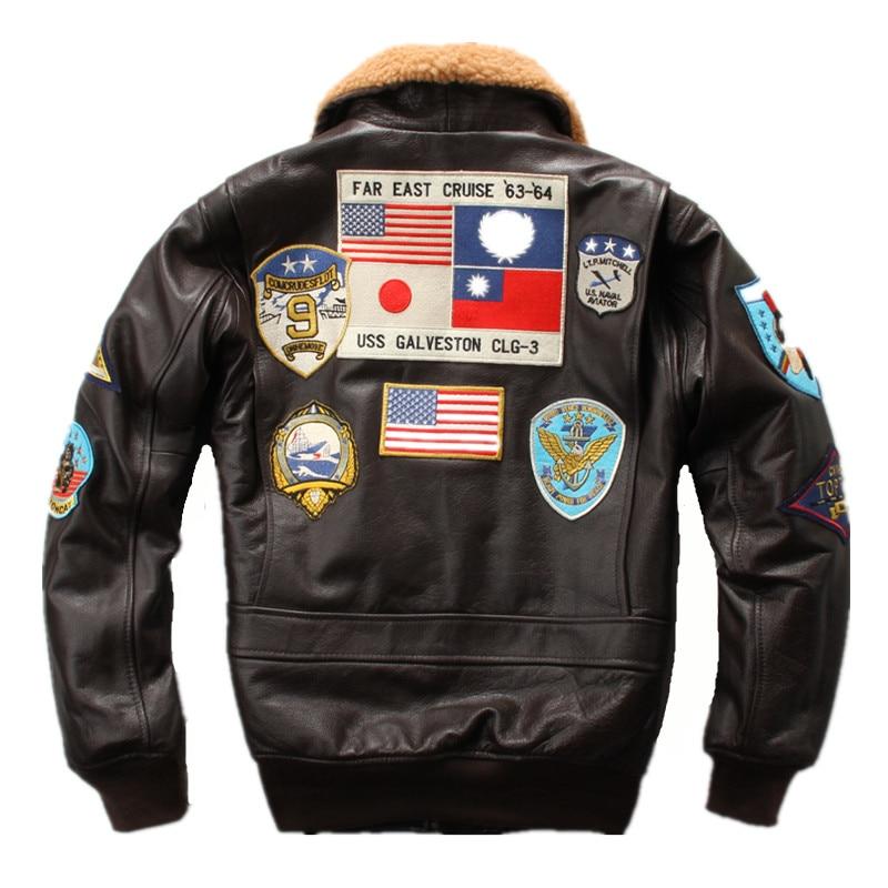 HARLEY DAMSON marrón hombres piloto chaqueta de cuero cuello de lana Europa tamaño XXL cuero genuino grueso aviador ruso abrigo de cuero
