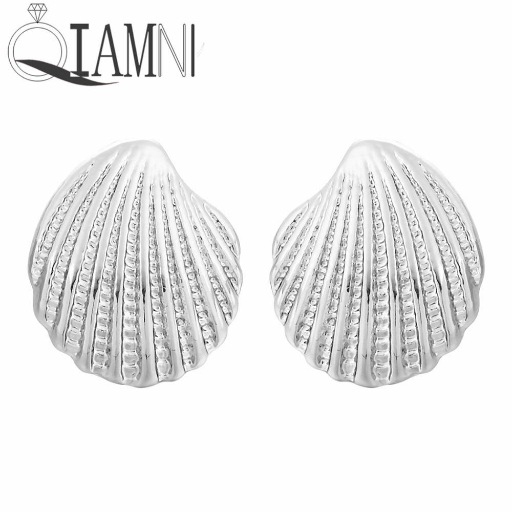 QIAMNI 1 Pair Beautiful Tiny Scallop Shells Stud Earrings Fashion Jewelry Birthday Gift for Women Girls