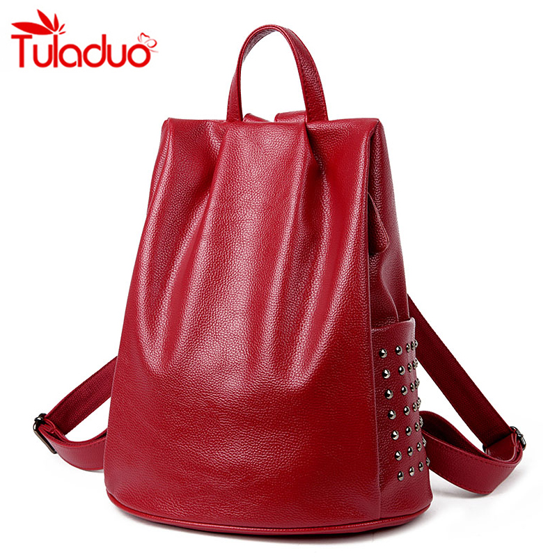 New fashion Women Genuine Leather Backpacks For Vintage School College Girl Rivet Travel Bag Simple Style