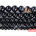 Бесплатная доставка натуральный камень черные белые полосатые Агаты круглые бусины 4 6 8 10 12 мм выбрать размер для изготовления ювелирных изделий SAB50 - фото