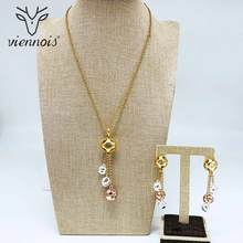 Viennois New Mix Color & Gold Color Dangle Earrings Long Pendent Necklace Set For Women Metal Party Jewelry Set