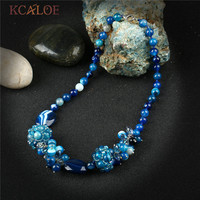 KCALOE Women's Blue Choker Statement Necklace Jewelry Natural Stone Pendant Handmade Beaded Crystal Necklaces For Women